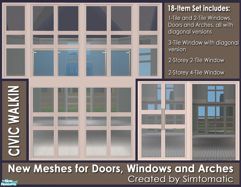 Simtomatic 39 s civic walkin doors windows mesh set for Mesh for windows and doors