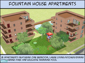 Sims 2 — Fountain House Apartments by BadDay — Fountain House Apartments are lovely red-bricked flats for your average