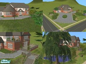 Sims 2 — Large Corner House by lechapeau — Lot will look better placed on a corner to access the mock driveway! Stands on