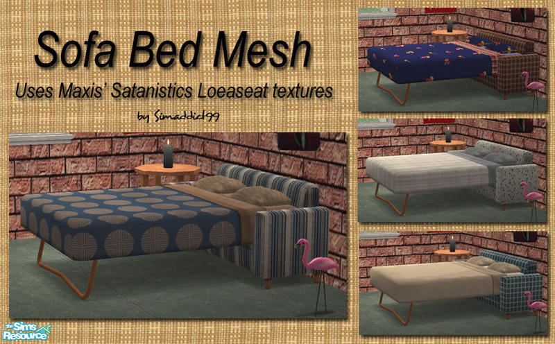 Simaddict99 39 s low budget wonders sofabed for Sofa bed sims 4