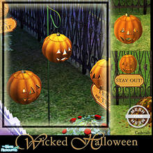Sims 2 — Wicked Halloween - Halloween Lantern Mesh by Cashcraft — A collection of Halloween jack-o-lanterns--a large