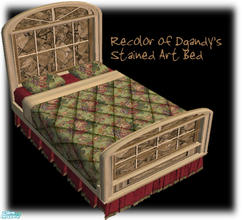 Sims 2 — Serenity Bed Frame by dancingaphrodite — Dgandy's bed frame done in smooth cream colored wood accented with