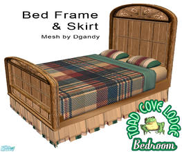 Sims 2 — Toad Cove Bed Frame and Bed Skirt by dancingaphrodite — Rustic rough hewn wood makes this massive bed frame