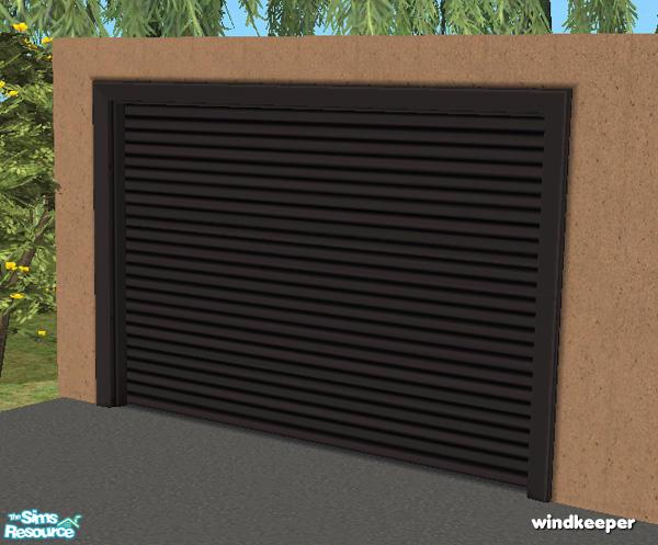 Flat Garage Door   Black Metal