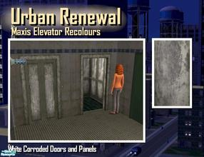 Sims 2 — Elevator corroded white metal door panel by Cyclonesue — This is the panel (not the metal trim) of the elevator