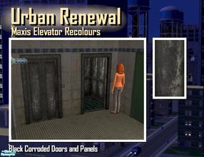 Sims 2 — Elevator black corroded door panel by Cyclonesue — This is the panel (not the metal trim) of the elevator in