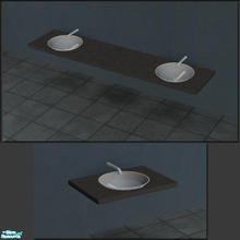 Sims 2 — Slate Glass Bowl Sink by Toddfx — Glass bowl set in a slate counter slab. Also look for matching slate counter