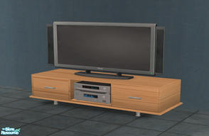 Sims 2 — Zen Media Table by Toddfx — Designed to hold your plasma screen television or other media, this table can also