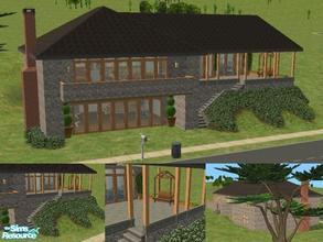 Sims 2 — Modern Stone Chalet by lechapeau — Built on a 4x3 lot with flat front. There's room for a driveway but one isn't
