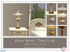 Sims 2 — Frilly Shade by DOT — Frilly Shade table lamp. 1 Mesh Plus Recolors. Sims 2 by DOT of The Sims Resource. TSR
