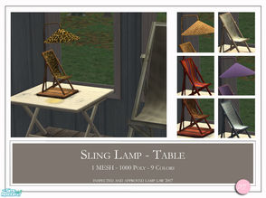Sims 2 — Sling Table Lamp by DOT — Sling Table Lamp. 1 Mesh plus recolors. Sims2 by DOT of The Sims Resource.