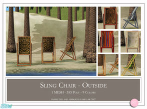 Sims 2 — Sling Chair by DOT — Sling Chair. 1 Mesh plus recolors. Sims2 by DOT of The Sims Resource.