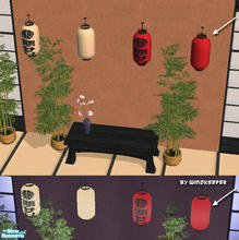 Sims 2 — Japanese paper lantern - red 2 by Windkeeper — Recolor of Japanese paper lantern.