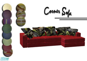 Sims 2 — Corner sofa by Sophel21 — this set will add 6 new cushion colors and 7 new sofa fabrics to cassandres White