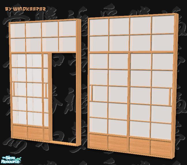 Sliding Doors The Sims 4: Windkeeper's Shoji 2-tile Sliding Door