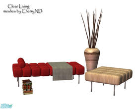 Sims 2 — clear Living  by Sophel21 — recolors of CherryND\'s Black Aug living room. set includes recolors of the chair,