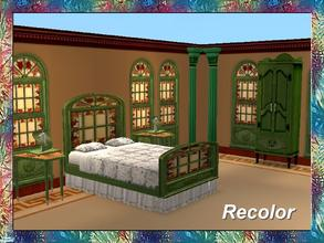 Sims 2 — Stained Art Bedroom-Bed-Green Frame-Glas by Dgandy — Decorate in style with this Bedroom Set custom made to