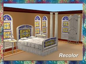 Sims 2 — Stained Art Bedroom-Bed-White Frame- 3 by Dgandy — Decorate in style with this Bedroom Set custom made to match