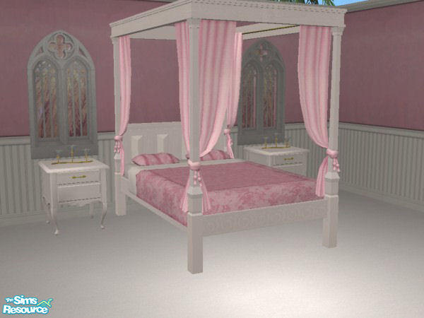 Vampire Seductress Pink White Canopy Bed