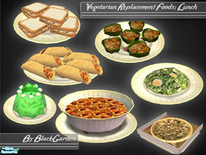Sims 2 — Vegetarian Default Replacements: Lunch by BlackGarden — *Base game version* These delicious meat-free