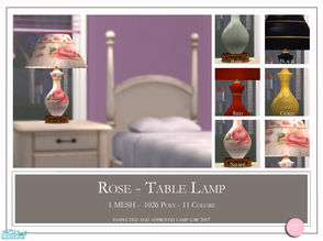 Sims 2 — Rose Table Lamp by DOT — Rose Table Lamp. 1 Mesh Plus Recolors. Sims 2 by DOT of The Sims Resource. TSR