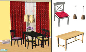 Sims 2 — Cottage Dining-Room by Sophel21 — cottage dining set req. the awesome meshes by birgit43 (ICEA inspired