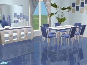 Sims 2 — Blaine Dining Blue by detimgi — Recolor of the Blaine dining room