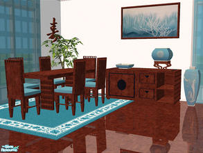 Sims 2 — Melu Dining by detimgi — New Dining room mesh set in rich wood contrasted by bright teal.Eight new meshes,two
