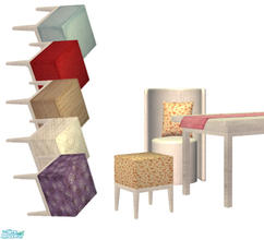 Sims 2 — Modern dining by Sophel21 — 2 chair variations and desk with decorative tablecloth. set includes recolors of