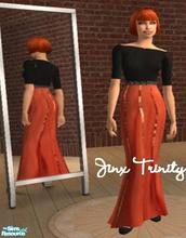 Sims 2 — Set by JinxTrinity — Ordinary black top with 3/4 arms with ballroom skirt in glitterstriped orange