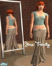 Sims 2 — Set by JinxTrinity — Knited green glittergreen top with beige long manchester skirt. With butterfly belt.