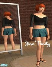 Sims 2 — Set by JinxTrinity — Set with black top and green manchester skirt