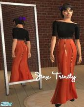 Sims 2 — Set by JinxTrinity — Black top with 3/4 arms. Elegant skirt in orange with satinembroidery.