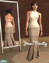 Sims 2 — Set by JinxTrinity — Top and long skirt. Cotton skirt in beige and knited top in white.