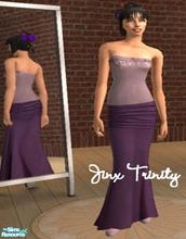 Sims 2 — Set by JinxTrinity — Top and long skirt in purple. Nice for those chilly autumn nights!