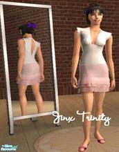 Sims 2 — Set by JinxTrinity — White top and pink layerd skirt.