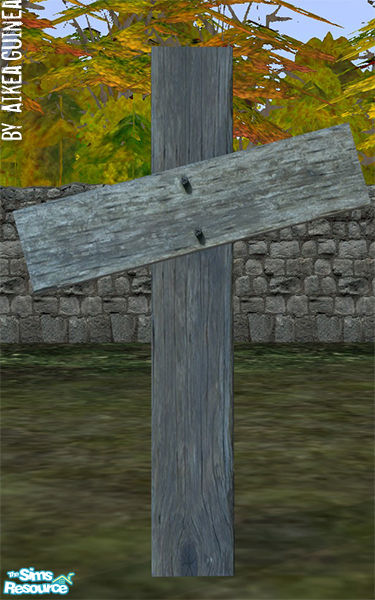 Aikeaguineas Wooden Cross Grave Marker Skewed Weathered Wood