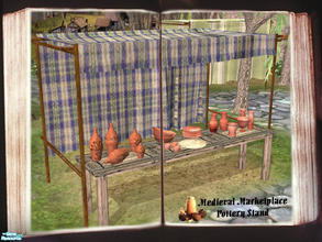 Sims 2 — Medieval Marketplace -Pottery Stand by cemre — Medieval Marketplace -Pottery Stand includes tent, 3 table parts,
