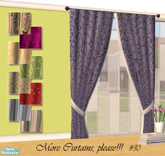 Sims 2 — More Curtains, please! #30 by Sophel21 — patterned fabric recolors of the awesome mesh by Shino&KCR (PB