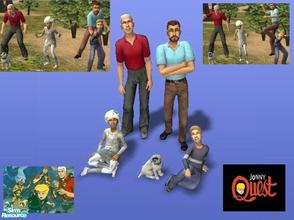 Sims 2 — Cast of Jonny Quest by Small Town Sim — Jonny, Hadji, Race, Dr. Quest and Bandit. Characters in the animated TV