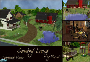 Sims 2 — Country Living (Apartment Homes) by Pinecat — <B>Three cozy homes in a relaxing country setting!</B>