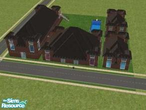 Sims 2 — Large Dorm by oldmember_demfichar — 30 rm Dorm (not 16). Has big rooms, 2 lg br's, a connecting gym, a large