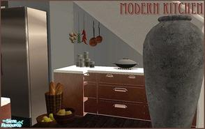 Sims 2 — Modern wood kitchen by Angela — Modern looking wooden kitchen with white countertop, includes dishwasher and