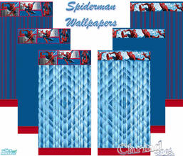 Sims 2 — Spiderman Wallpaper Set by Chrmd — A set of 6 spiderman wallpapers for your child\'s bedroom. A matching set of