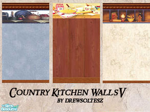 Sims 2 — Country Kitchen Walls V by drewsoltesz — Three more country style kitchen wallpapers, ideal for your