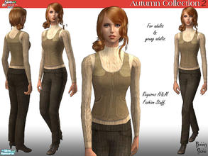 Sims 2 — H&M Autumn Collection: Natural Sweater, Waistcoat & Trousers by BunnyTSR — A stylish Barbour zip up