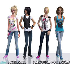 Sims 2 — Funk - Collection 19 for Adult Females by francisssko — 1 New mesh + 4 Recolors. Alpha editable chains and tie