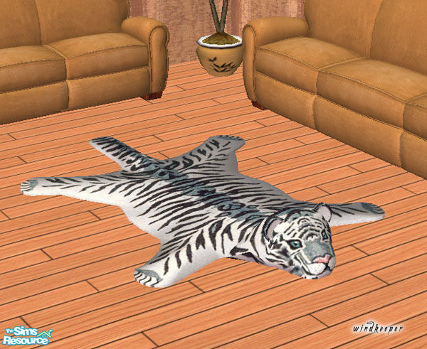 Faux White Tiger Skin Rug