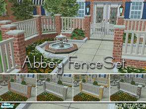 Sims 2 — Abbey Fence Set by estatica — Five new garden fences made to blend perfectly with Maxis content. Polys: post 80,