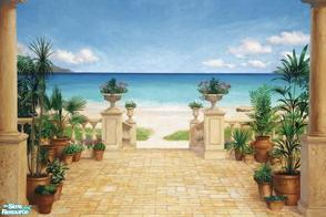 Sims 2 — Terrace Seascape Mural by brittie — A beautiful view off the terrace of the seascape, including terrace!